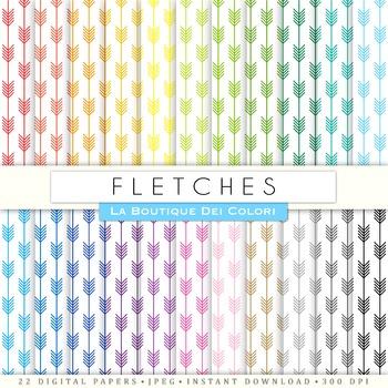 Rainbow Fletches Digital Paper, scrapbook backgrounds