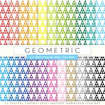 Rainbow Triangles Digital Paper, scrapbook backgrounds