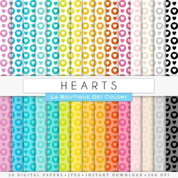 Rainbow Hearts & Circles Digital Paper, scrapbook backgrounds