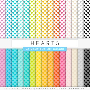 Rainbow Small Hearts Digital Paper, scrapbook backgrounds