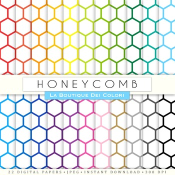 Rainbow Honeycomb Digital Paper, scrapbook backgrounds