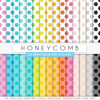 Rainbow Honeycomb Digital Paper, scrapbook backgrounds