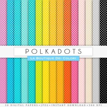 Rainbow Small Polkadots Digital Paper, scrapbook backgrounds
