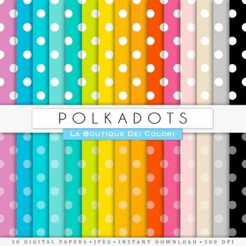 Rainnbow Big Polkadots Digital Paper, scrapbook backgrounds