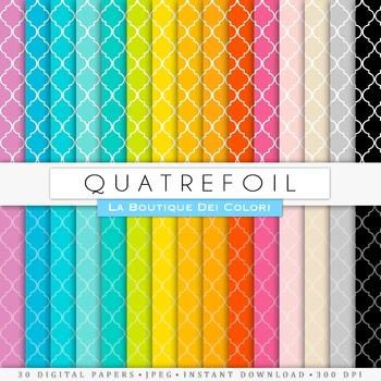 Rainbow Quatrefoil Digital Paper