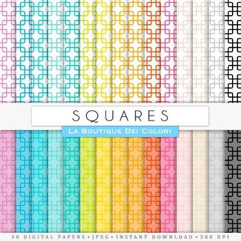 Oriental Squares Digital Paper, scrapbook backgrounds
