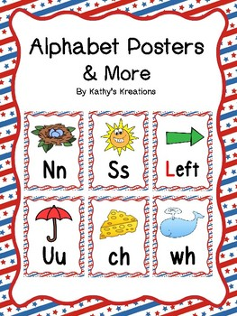 Red, White And Blue Alphabet Posters