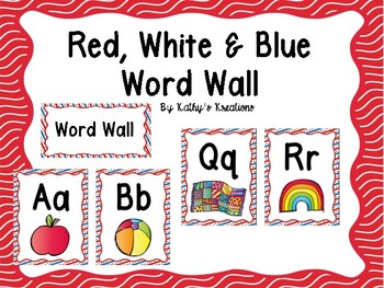 Red, White, And Blue Word Wall With Pictures