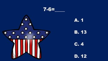 Red, White, Blue, Addition and Subtraction, Too - A PowerPoint Game