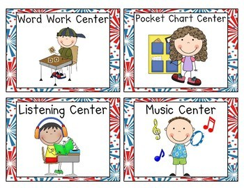 Red, White & Blue Americana Patriotic Pocket Chart Center Cards