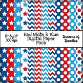Red White & Blue Digital Paper Pack
