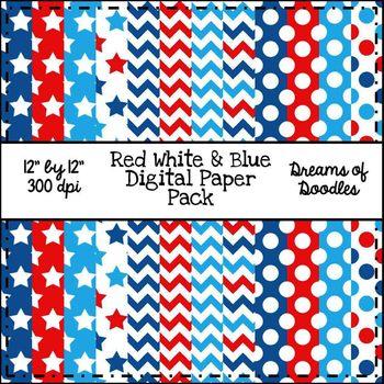 Red White & Blue Digital Paper Pack