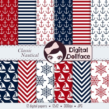 Red, White & Blue Digital Papers / Navy / Nautical Backgrounds