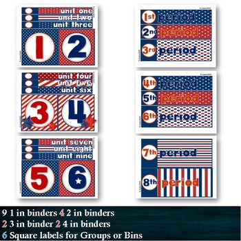 147Labels DOTS Red White Blue Organization:Drawers Toolbox Calendar Group Spines