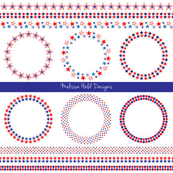 Red White Blue Frames Borders Digital Clipart Tpt