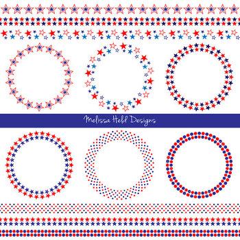 Red White Blue Frames & Borders Digital Clipart