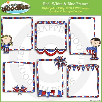 Red White Blue Frames By Scrappin Doodles Teachers Pay Teachers