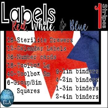 147Label STRIPES Red White Blue Organization Drawer Toolbox Calendar Group Spine