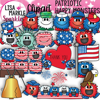 Red White Blue Patriotic Happy Monster Clipart