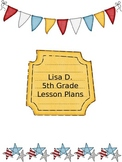 Red, White & Blue Patriotic Themed Lesson Plans Binder Planning Pages Editable