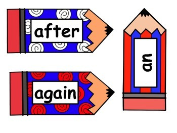 Red White & Blue Pencil Word Cards - 1st Grade Dolch