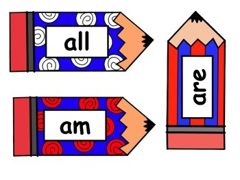 Red White & Blue Pencil Word Cards - Primer