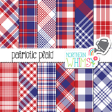 Red White & Blue Plaid Digital Paper for Crafts and Classr