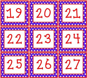 Red White & Blue Polka Dots Pocket Chart or Wall Calendar Set