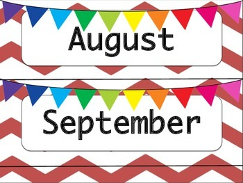 Red & White Chevron Calendar Months