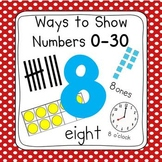 Red & White Dot Numbers 0-30 Posters (Ten Frames, Tallies, Base Ten)
