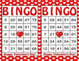 Red White Hearts Valentine's Day Bingo - 100 Printable Bin