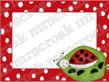 Labels: Lady Bugs with red & white polka dots, 10 per page