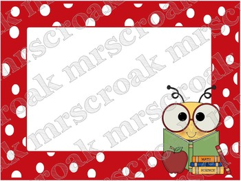 Labels: Academic Bee with red & white polka dots, 10 per page