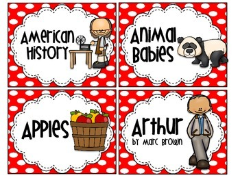 Red & White Polkadot Classroom Library Labels
