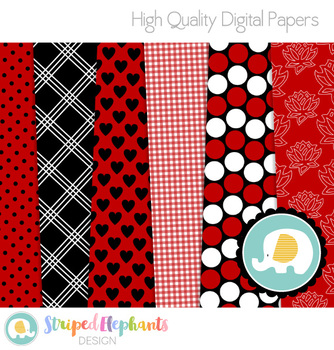 Red, White and Black Digital Papers