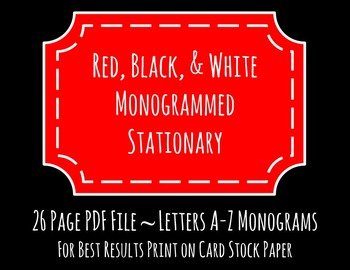 Red, White, and Black Monogrammed Stationary
