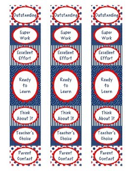 Red White and Blue Behavior Clip Chart