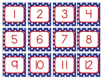Red White and Blue Calendar Months and Dates