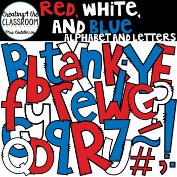Red, White, and Blue Clip Art Alphabet Letters (over 180 images)