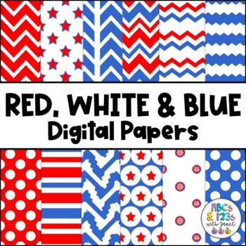Red, White, and Blue Digital Paper Pack FREEBIE