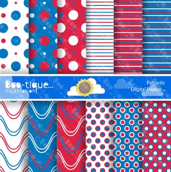 Red, White and Blue Digital Scrapbook Papers. Patriotic Sc