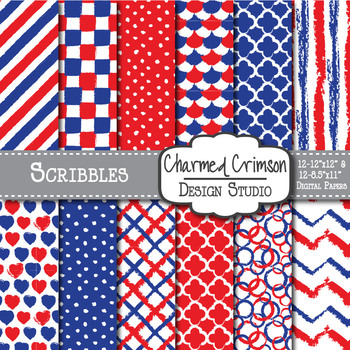 Red, White, and Blue Doodle Digital Paper 1384