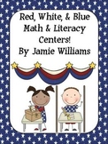 Red, White, and Blue Literacy and Math Centers: nouns, verbs, place value & more