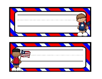 Red, White, and Blue Name Tags and Desk Tags