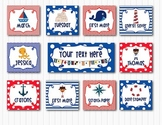 Red, White, and Blue Nautical Ocean Cards Labels Editable 3.5 x 3