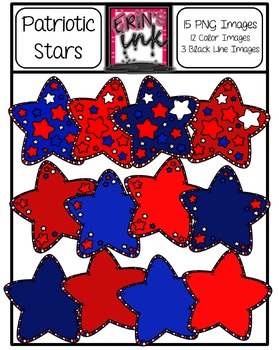 Red, White and Blue Patriotic Stars Clip Art