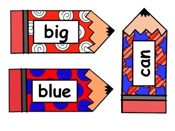 Red White and Blue Pencil Word Cards - Preprimer