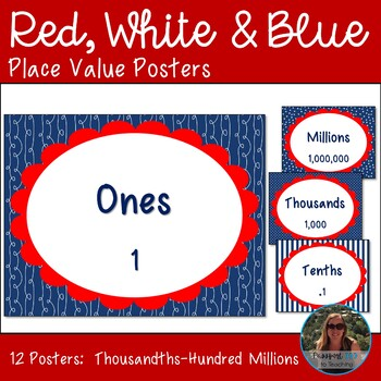 Red White and Blue Place Value Posters