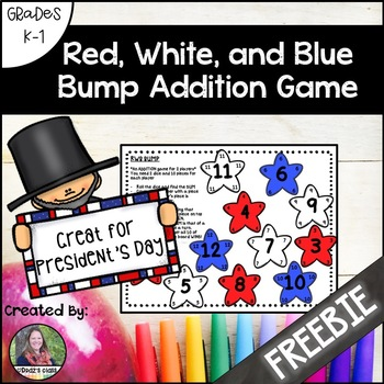 Red, White, and Blue President's Day Bump Addition Game Freebie
