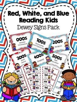 Red, White, and Blue Reading Kids Dewey Signs Pack {with editable signs}